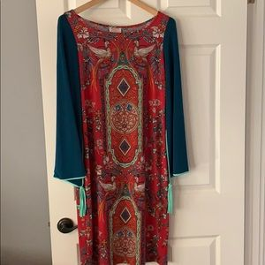 Gorgeous Red Multi printed dress/Bell Sleeves